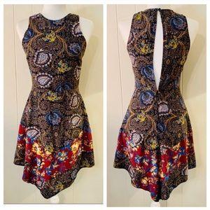 Topshop Paisley Hanky Hem Sleeveless Cutout Dress
